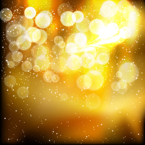 Golden festive lights background. Vector illustration.