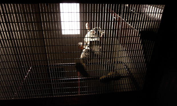 A US military prison guard in the Guantánamo Bay detention center